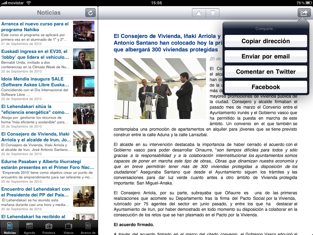 New Irekia app for iPad and iPhone