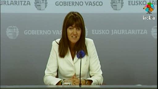 Video Rueda de prensa de la portavoz del Gobierno Vasco, Idoia Mendia, tras el Consejo de Gobierno