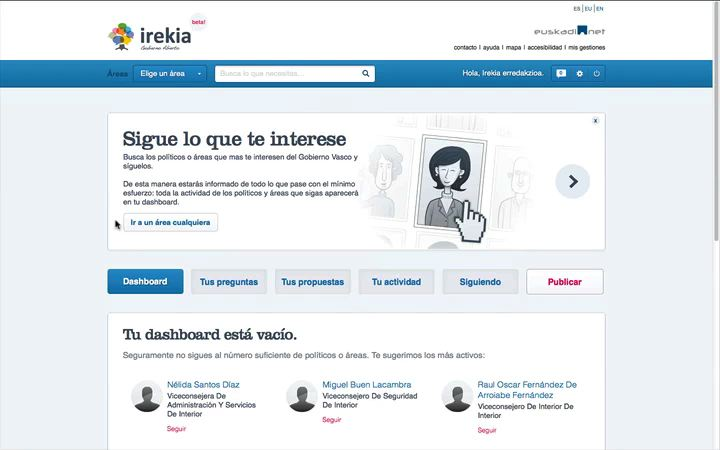 Cmo seguir un rea en el nuevo Irekia [1:25]