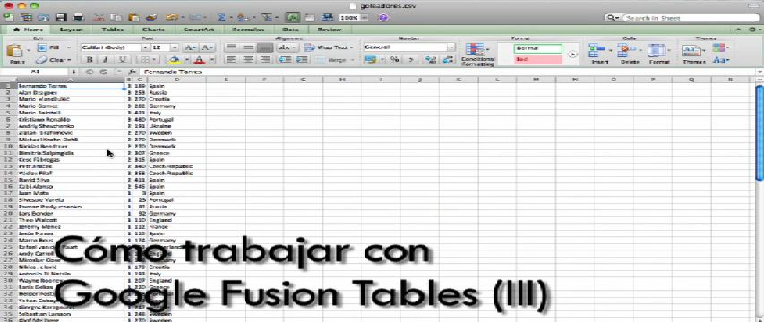 Video Google Fusion Tables (III) (Curso periodismo de datos 9/10)